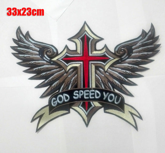 GOD SPEED YOU CROSS WINGS MC Biker Patch Set Iron On Vest Jacket Rocker LARGE-ASTROSHADEZ.COM-ASTROSHADEZ.COM