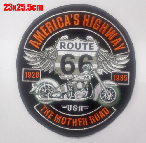 AMERICAS HIGHWAY ROUTE 66 USA MC Biker Patch Set Iron On Vest Jacket Rocker LARGE-ASTROSHADEZ.COM-ASTROSHADEZ.COM