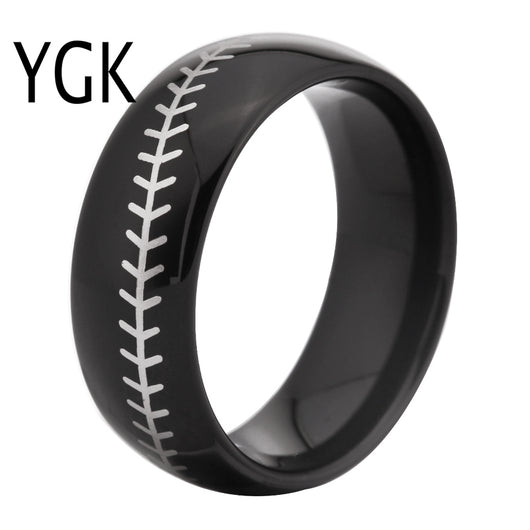 Black Dome White Baseball Stitch Fashion Tungsten CARBIDE Ring WEDDING-ASTROSHADEZ.COM-ASTROSHADEZ.COM