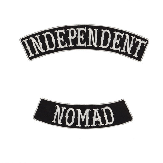 INDEPENDENT NOMAD MC Biker Patch Set Iron On Vest Jacket Rocker Hells-ASTROSHADEZ.COM-ASTROSHADEZ.COM