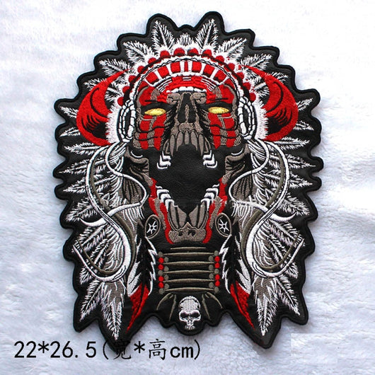 Motorcycle Mc Biker Chief Indian Skull Devil Tribe Patch-ASTROSHADEZ.COM-ASTROSHADEZ.COM