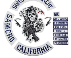 SONS OF ANARCHY SAMCRO FULL MC MOTORCYCLE Biker Patch Set Iron On-ASTROSHADEZ.COM-ASTROSHADEZ.COM