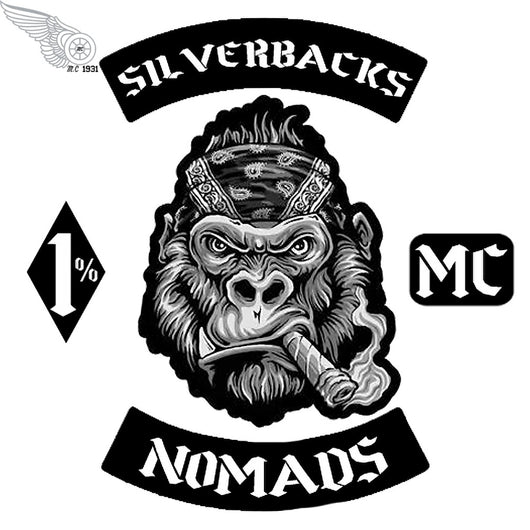 Nomads Silverbacks MC CREW BIKE IRON PATCHES PATCH SET-ASTROSHADEZ.COM-ASTROSHADEZ.COM