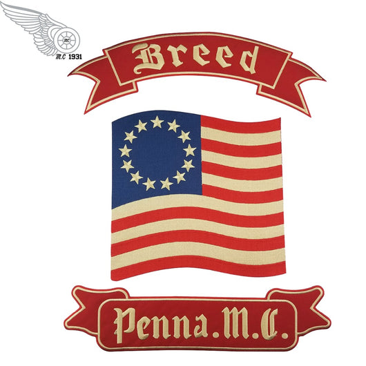 BREED PENNA MC MC CREW BIKE IRON PATCHES PATCH SET-ASTROSHADEZ.COM-ASTROSHADEZ.COM