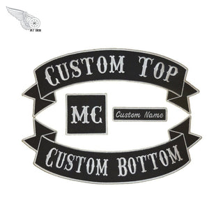 CUSTOM 4pc MC Biker Patch Set Iron On Vest Jacket Rocker Hells-ASTROSHADEZ.COM-ASTROSHADEZ.COM