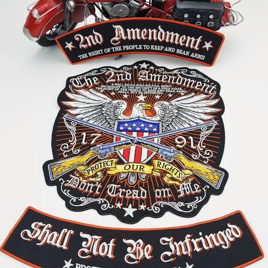 2nd Amendment Eagle Bear Arms Large MC Iron Motorcycle Patch Set-ASTROSHADEZ.COM-ASTROSHADEZ.COM