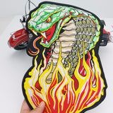 COBRA SNAKE GREEN FIRE FLAMES MC Biker Patch Set Iron On Vest Jacket Rocker Hells XL LARGE-ASTROSHADEZ.COM-ASTROSHADEZ.COM