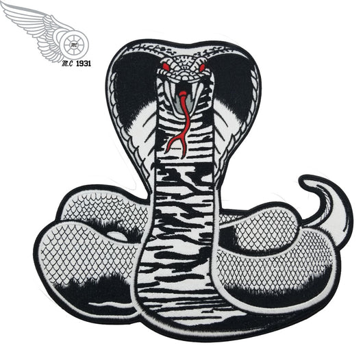 Black Cobra Snake MC Biker Patch Set Iron On Vest Jacket Rocker Hells XL LARGE-ASTROSHADEZ.COM-ASTROSHADEZ.COM