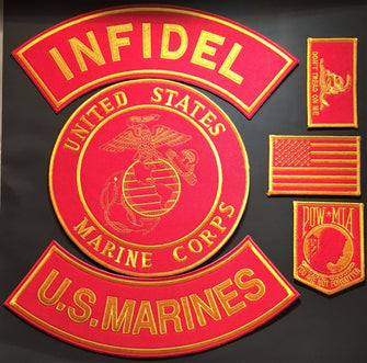 USMC Army Military Infidel Marine Corps POW Iron MC Motorcycle Patch Set Large-ASTROSHADEZ.COM-ASTROSHADEZ.COM