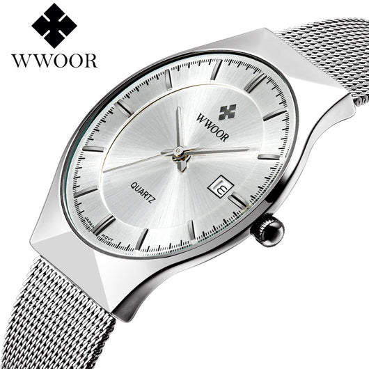 WWOOR New Top Luxury Watch Men Brand Mens Watches Ultra Thin Stainless Steel Mesh Band Quartz Wristwatch Fashion casual watches
