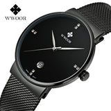 Fashion Simple Stylish Luxury brand WWOOR Watches Men Stainless Steel Mesh Strap Thin Dial Clock Man Casual Quartz-watch Black-ASTROSHADEZ.COM-ASTROSHADEZ.COM