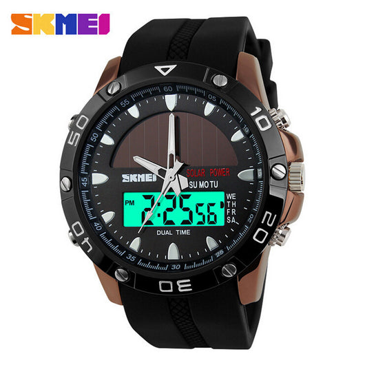 Watches Men Waterproof Solar Power Sports Casual Watch Man Mens Wristwatches 2 Time Zone Digital Quartz LED Clock Men