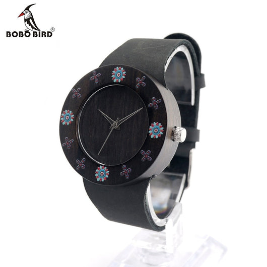 BOBOBIRD D25 Ebony Black Wood Women Dress Watch With Print Flowers For Ladies Watch With Anolog Quartz Watch With Git Box-ASTROSHADEZ.COM-ASTROSHADEZ.COM