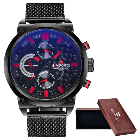 2016 Mens NAVIFORCE Luxury Brand Analog Quartz Watch Man 3ATM Waterproof Fashion Casual Sport Watches Men full steel Wristwatch-ASTROSHADEZ.COM-ASTROSHADEZ.COM