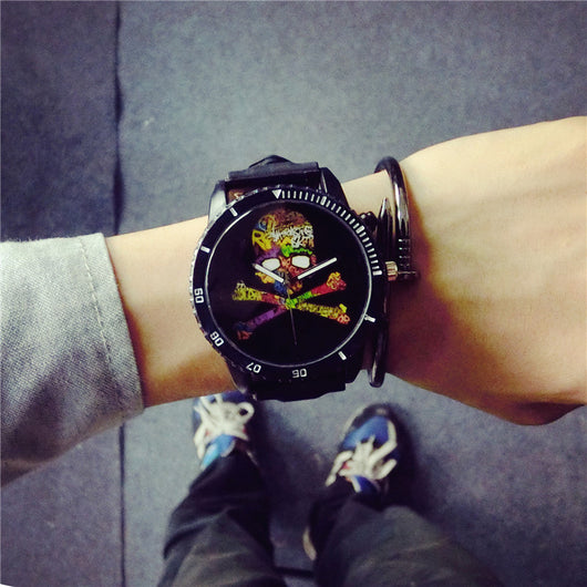 Fashion Cool Skull Punk Sport Shockproof Soft Rubber Quartz Wristwatches Wrist Watches for Men Male Boy Black High Quality