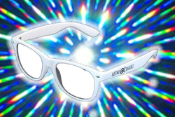 White Frame w/ Clear Diffraction Glasses Astroshadez