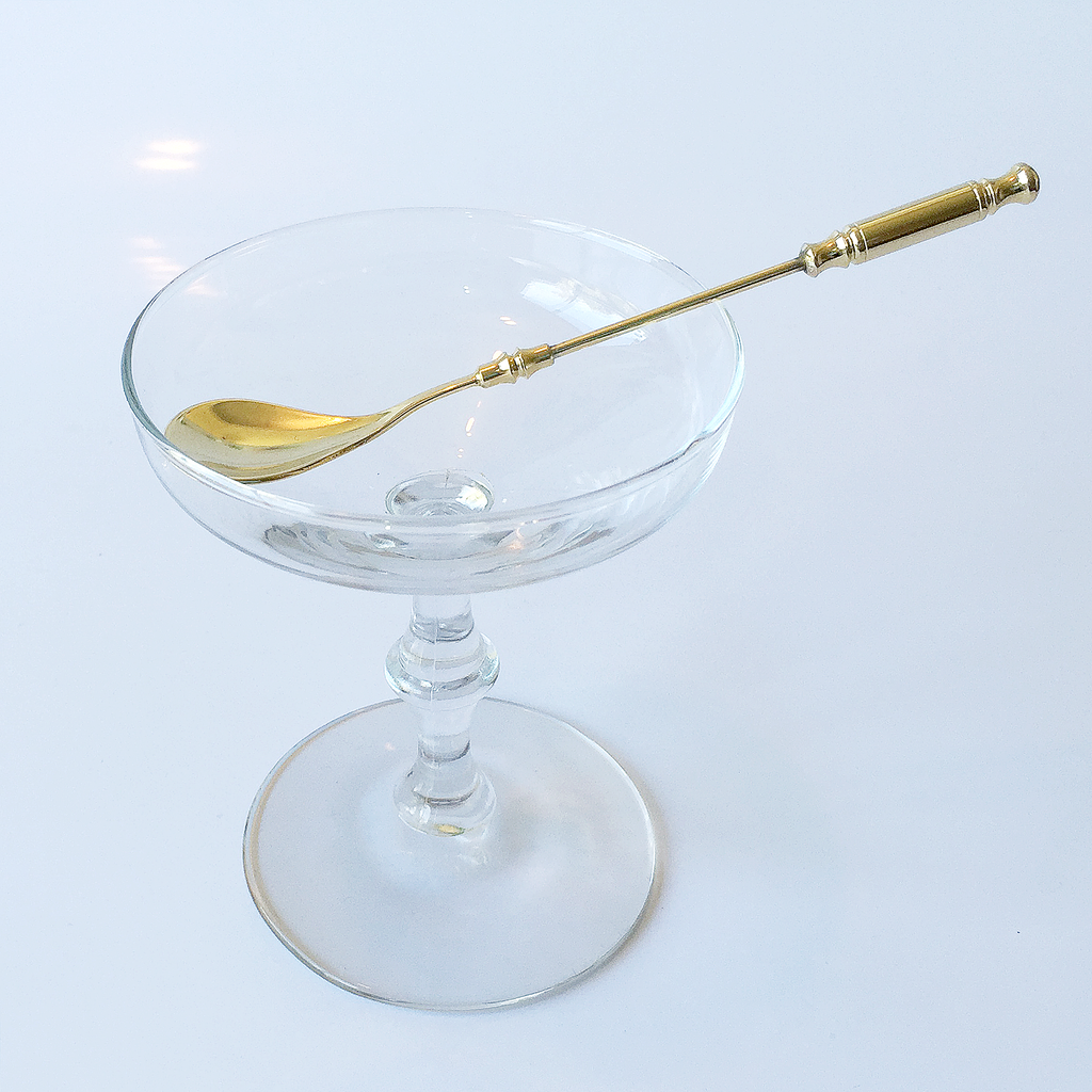 Audrey Would Vintage Home Bamboo Stem Saucer Coupe, Gold Spoon