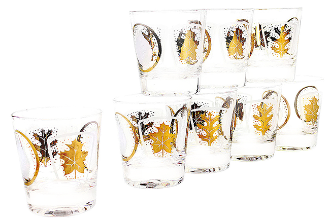 Glen Echo Leaf and Circle Whiskey Glasses, Audrey Would Vintage Home
