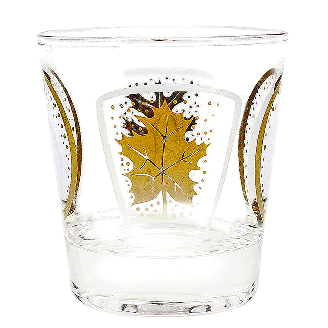 Glen Echo Leaf and Circle Design, Lowball Whiskey Glass, Audrey Would Vintage Home