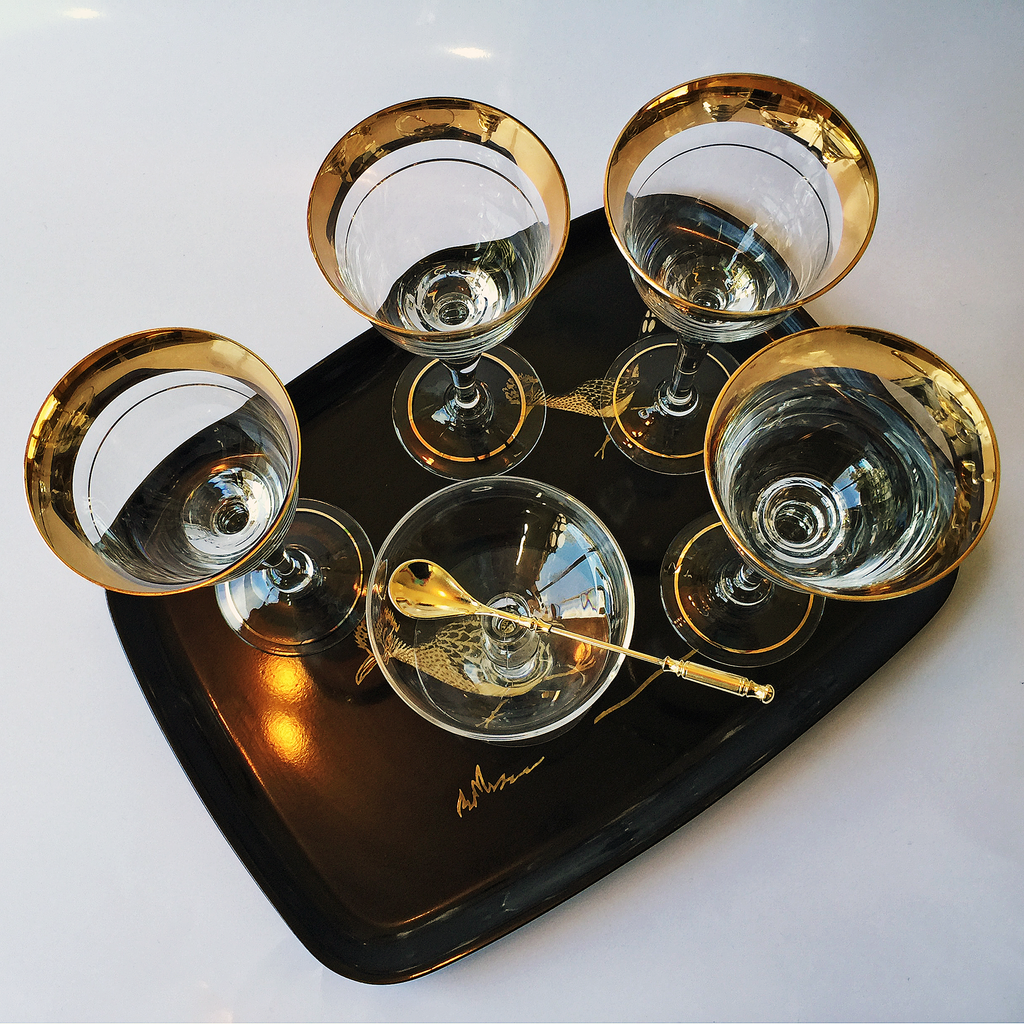 Courac Tray, Czech Crystal Wine Glasses, Bamboo Stem Coupe, Caviar Spoon