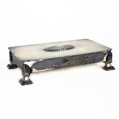 Cigarette Box by Ronson, Silver Plated with Ornate Lid and Feet