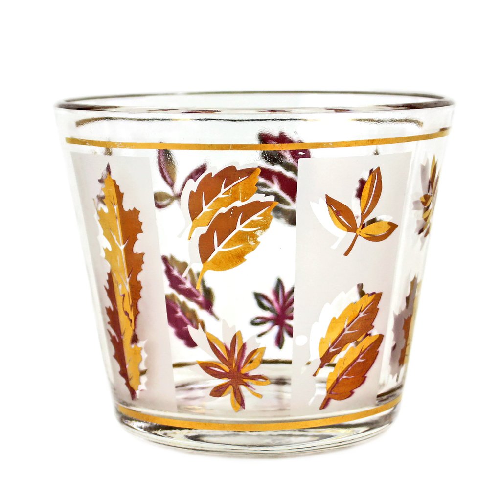 Vintage Glass Ice Bucket. Gold and Pink Leaves on Alternating Clear and Frosted Panels.