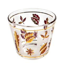 Mid Century Glass Ice Bucket with Leaf Pattern in Gold and Pink. 22k Gold Rim.