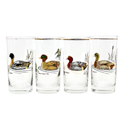 Vintage Culver Bar Glasses with Ducks. Set of 4.
