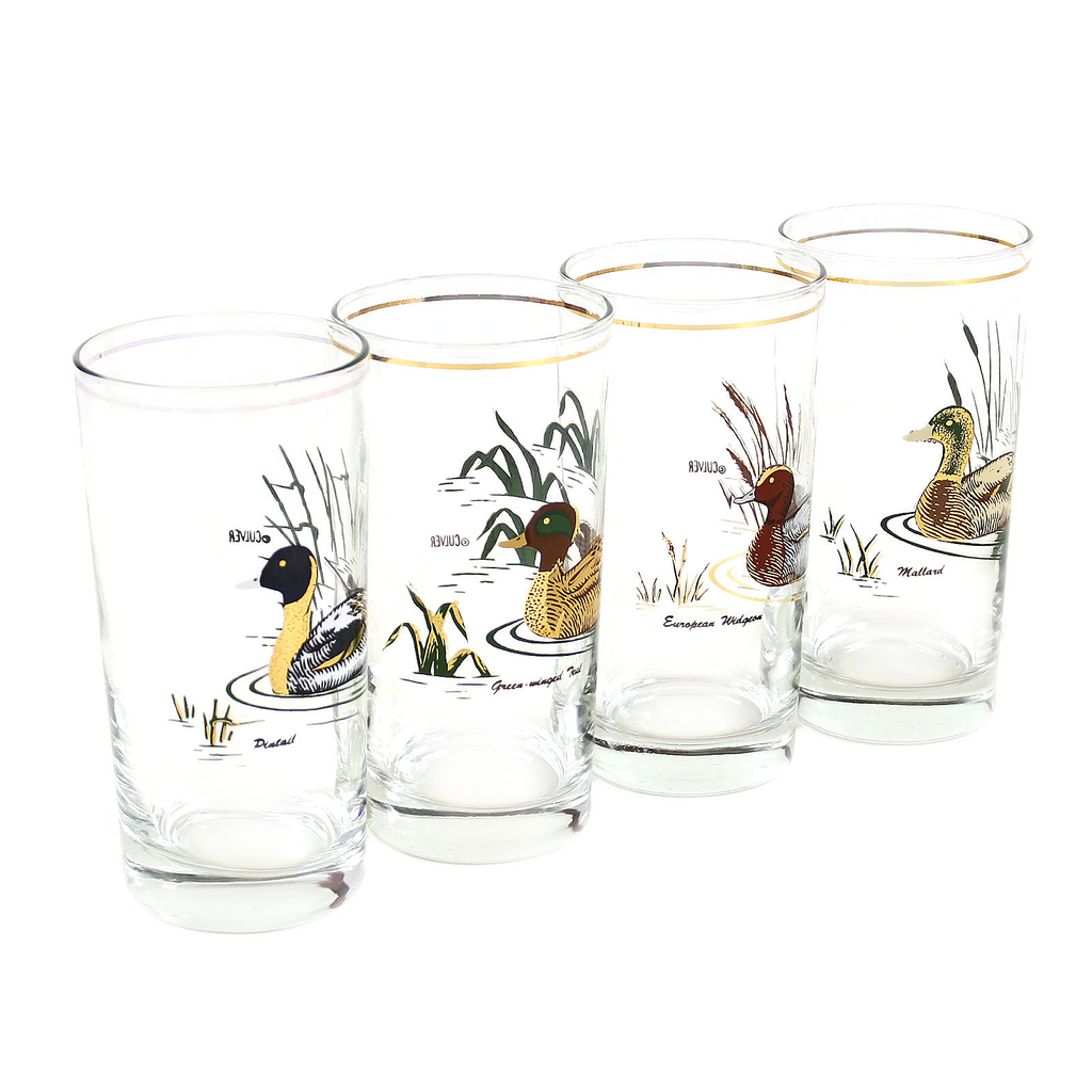 Mid Century Bar Glasses by Culver Featuring Ducks, a Different Duck on Each Glass. Set of 4.
