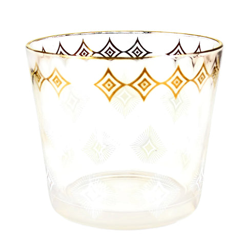 Glass Ice Bucket, White & Gold Diamond Pattern, Vintage