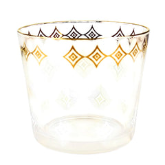 Vintage Glass Ice Bucket with Gold and White Diamond Pattern.