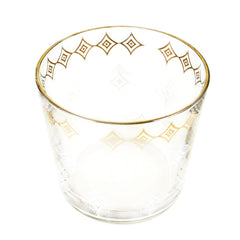 Mid Century Glass Ice Bucket with 22k Gold Rim. White and Gold Diamond Pattern.