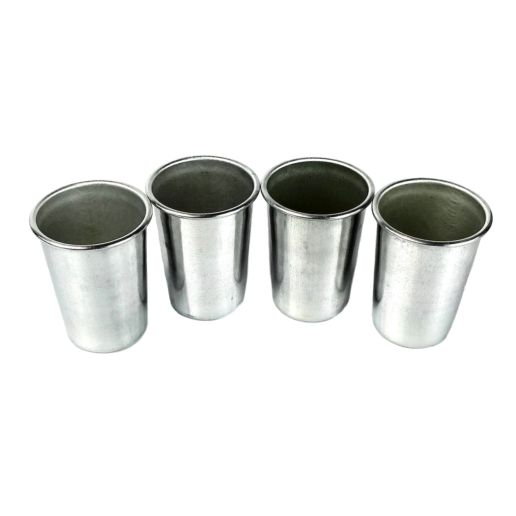 Set/4 Shot Glasses, Aluminum, Portable Barware