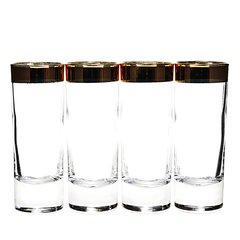 Culver Double Shot Glasses, 22K Gold Rims, Mid-Century Crystal Barware, Set of 4
