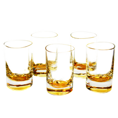 Gold Double Shot Glasses, Iridescent Amber Glass Barware