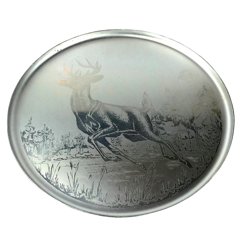 Vintage Aluminum Serving Tray, Etched Deer Design, Canadian Original Silhouette 1265