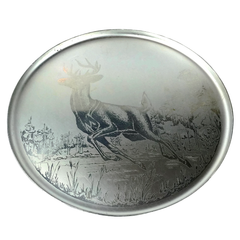 Mid Century round aluminum serving tray etched with a running deer. Made by Canadian company, Silhouette.
