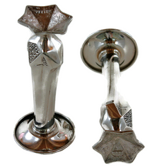 Viking Silver Plate Candle Holders, Art Deco
