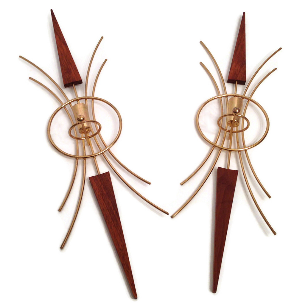 Teak & Brass Starburst Candle Sconces, Mid-Century