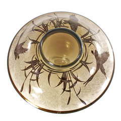 Smokey Pebbled Glass Bowl, Brass Geese Inlay