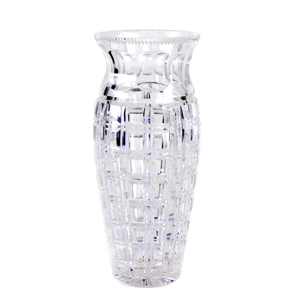 Vintage Crystal Vase, Brilliant Square Cut
