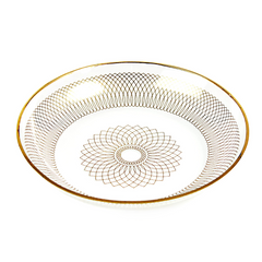 Svend Jensen Gold on Clear Spirograph Patterned Dish, Danish Modern