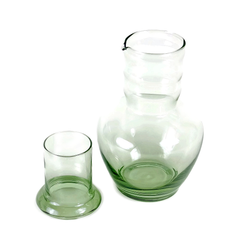 Art Deco Water Carafe & Drinking Glass, Tumble Up Set, Green, Dunbar Glass Co.