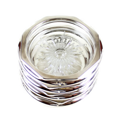 Coaster Set, Silver Rimmed Crystal, Gorham Whiting