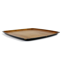 Vintage Contempo Teak and Black Lacquer Tray, Japan