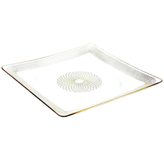 Svend Jensen Gold on Clear Spirograph Patterned Plate, Danish Modern Vintage