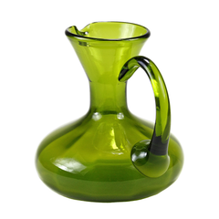 Vintage Pitcher, Olive Green Art Glass, Rainbow Glass Company