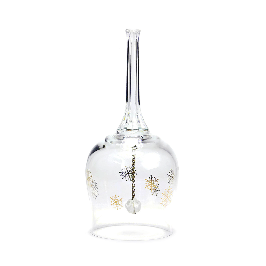 Elegant crystal dinner bell with snowflake pattern. Holiday dinner bell.