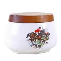 Vintage Pipe Tobacco Jar, Fox Hunting Scenes