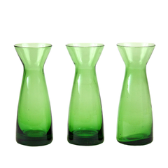 Vintage Bud Vase Trio, Emerald Green, Hand Poured Glass